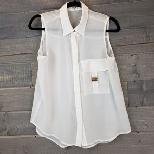 UNIQ Sheer White Button Down Small Sleeveless Top
